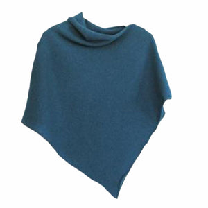 Poncho Soft Morino Lambswool Turquoise