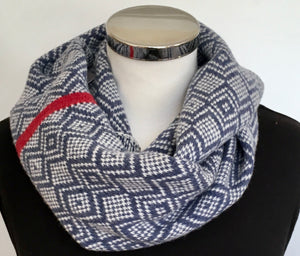 Scarf - Infinity Scarf Soft Merino Lambswool Scandi Scarf Indigo Blue and Cream