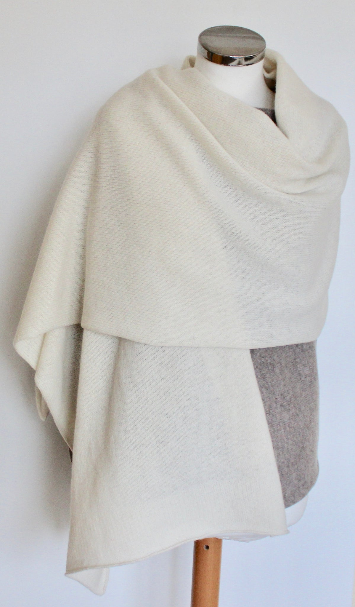 Shawl - Soft Merino Lambswool Shawl/Wrap Cream White