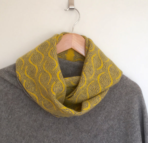 Infinity Scarf Soft Merino Lambswool Wave Pattern Piccalilli Yellow and Uniform Grey