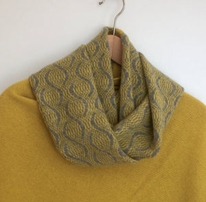 Snood - Infinity Scarf Soft Merino Lambswool Weave Pattern Uniform Grey and Piccalilli Yellow