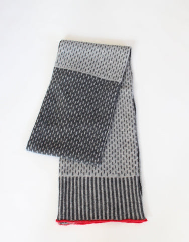 Scarf - Soft Merino Lambswool Two Tone Scarf Pearl Grey With Red Trim / Coal Grey Centre Panel
