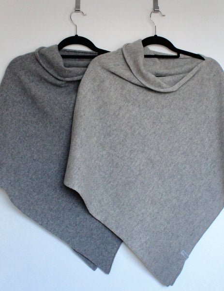 Poncho Soft Merino Lambswool Uniform Grey