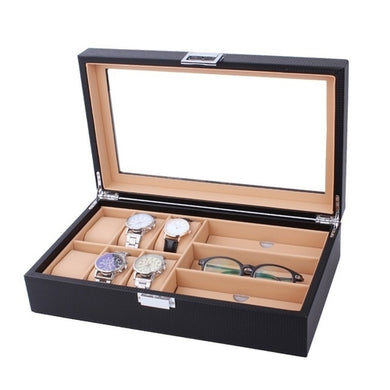 6/8 Grids PU Leather/Carbon Fiber Watch Box - Merchandise Inn