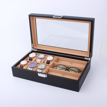 Load image into Gallery viewer, 6/8 Grids PU Leather/Carbon Fiber Watch Box - Merchandise Inn