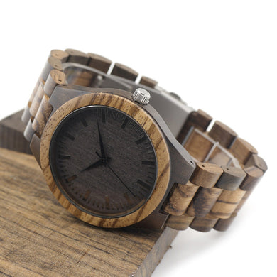 D30 Round Vintage Zebra Wood Case Men - Merchandise Inn