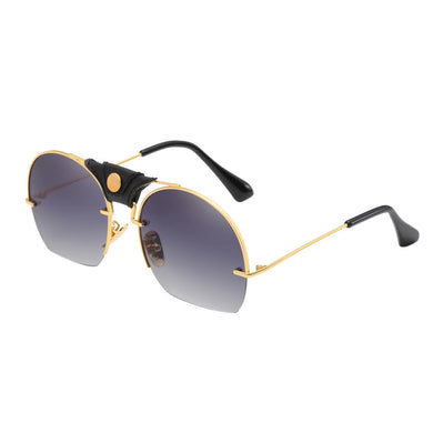 Fashion Women Men Metal Frame Shades Sunglasses Integrated UV Glasses - Merchandise Inn