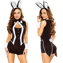 Load image into Gallery viewer, Sexy Women 5 Piece Tuxedo Bunny Costume Tux and Tails Halloween Cosplay Uniform Black - Merchandise Inn