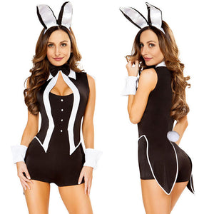 Sexy Women 5 Piece Tuxedo Bunny Costume Tux and Tails Halloween Cosplay Uniform Black - Merchandise Inn
