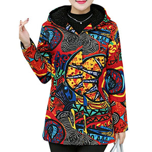 New ZANZEA Abstract Print Colorful Casual Leisure Long Sleeve Button Open Front Hooded Jacket - Merchandise Inn
