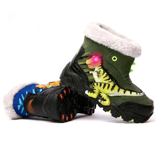 LED Light Up T-Rex Fleece Lined Snow Boots
