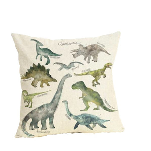 Dinosaur Watercolor Linen Throw Pillow Cover