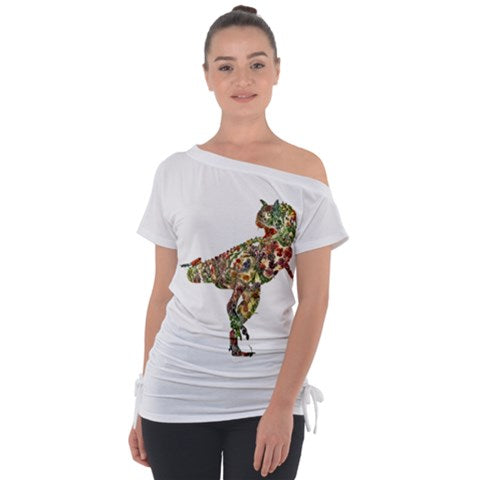Exclusive TheDinoStaur Design Jurassic Bouquet Carnosaur Off Shoulder Tie-Up Top