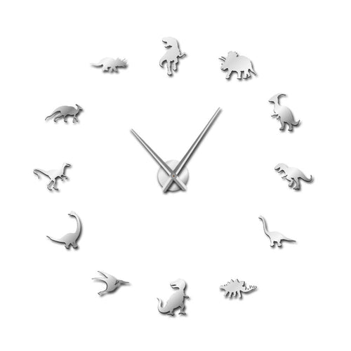 Jurassic Dinosaurs Large Frameless DIY Mirror Wall Clock 3 Color Options