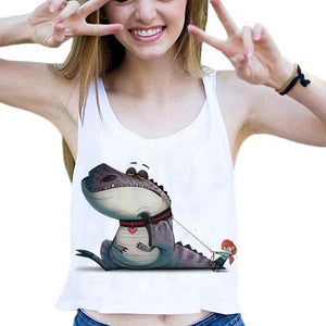 Harajuku Pet Dinosaur Crop Tops