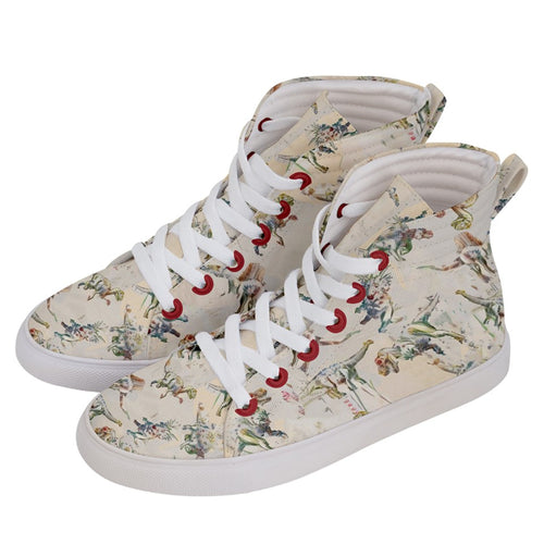 Jurassic Blossom Women's Hi-Top Skate Sneakers Dinostaur Exclusive Print