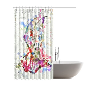 Thedinostaur.com Exclusive Jurassic Garden Pteranodon Floral Shower Curtain