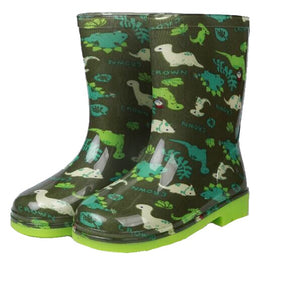 Dark Green Waterproof Dinosaur Rain Boots Wellies Rubber Shoes