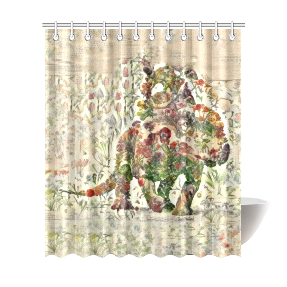 ThedDinostaur.com Exclusive Jurassic Bloom Protoceratop Shower Curtain 72