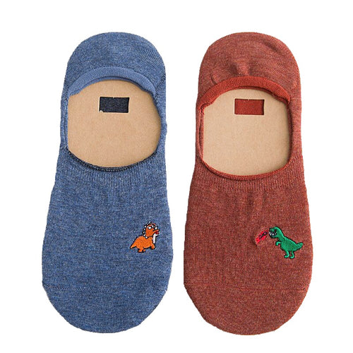 Two Pairs Dinosaur No-Show Cotton Non Slip Socks