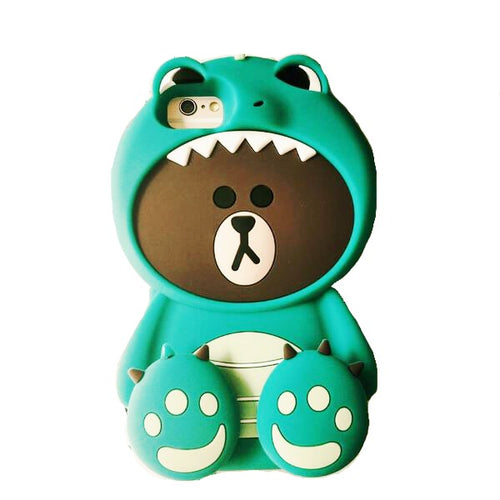 3D Dino Bear Iphone Silicone Protective Case