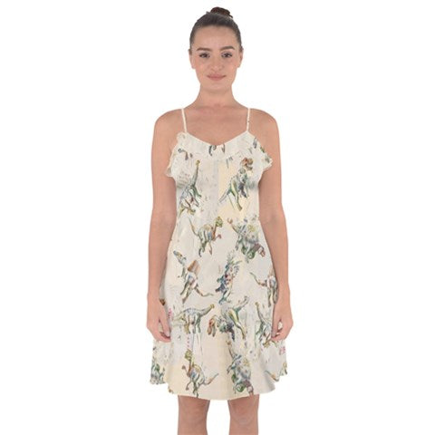 Exclusive TheDinoStaur Design Jurassic Blossom Ruffle Detail Chiffon Slip Dress