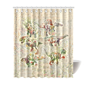 TheDinostaur.com Exclusive Jurassic Bloom Dino Squad Shower Curtain