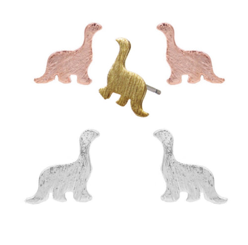Dinosaur Apatosaurus Brushed Metal Stud Earrings