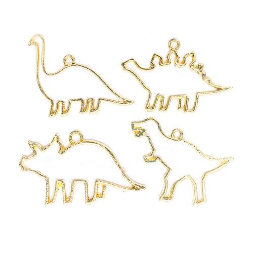 4 Piece Resin Craft  Dinosaur  Friends Jewelry Charms