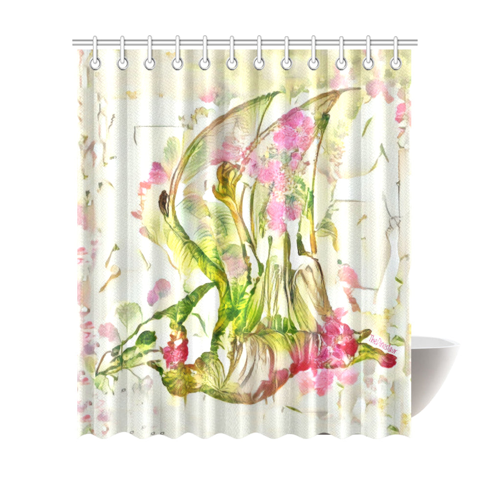 TheDinostaur.com Exclusive Jurassice Garden Pteranodon Bouquet Shower Curtain 72