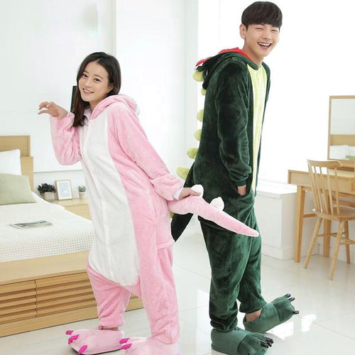 Adult Pink Or Green Dinosaur Cosplay Costume Pajamas Onesie