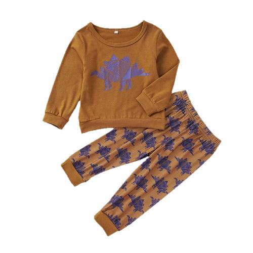 Cotton Toddler Long Sleeve Thagomizer Dinosaur Harem Pants Set