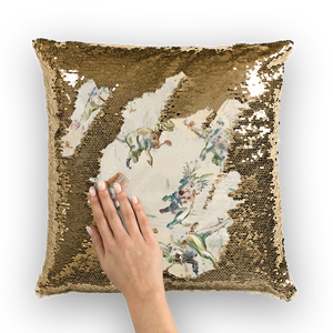 Jurassic Blossom Sequin Cushion Cover Or Pillow Set