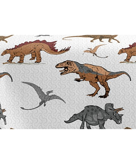 White Dinosaur Reversible Quilt Set