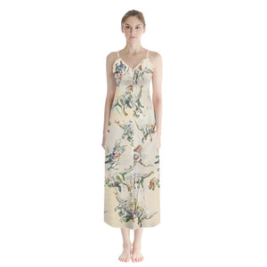 Jurassic Blossom Button Up Chiffon Maxi Dress Exclusive Dinostaur Design