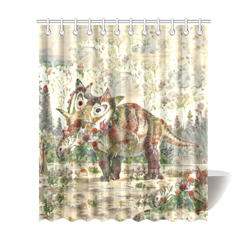 TheDinostaur.com Exclusive Jurassic Bloom Triceratop Shower Curtain