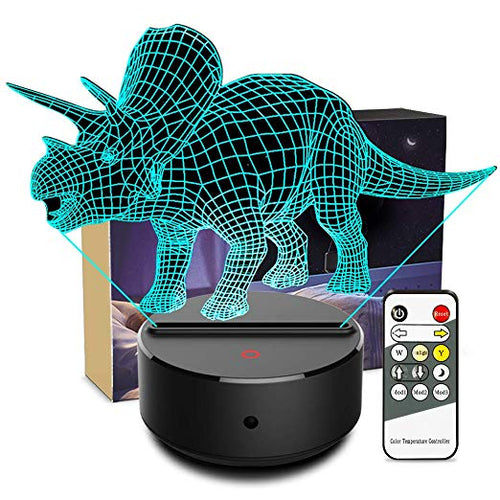 3D LED Illusion Dinosaur Triceratops Night Light Lamp