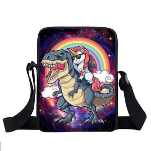 Unicorn Taking 5 Star T-rex Uber  Small Messenger Bags Dinosaur  Crossbody Bag Handbag Purse