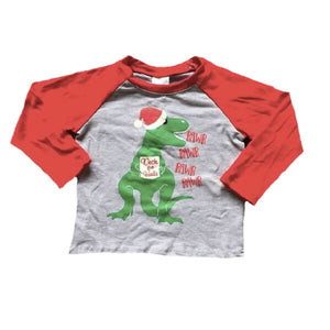Cotton Deck The Halls Tyrannosaurus Claus Raglan