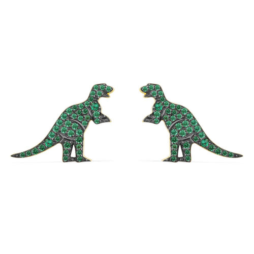 Dinosaur Cubic Zirconia Stud Earrings