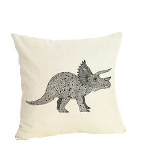 Triceratops Dinosaur Linen Throw Pillow Case Cover