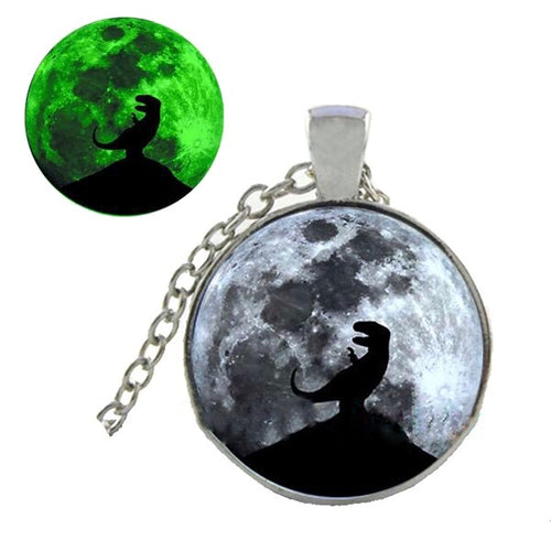 Silver Plated Howl At The Moon Glass Cabochon Dinosaur Glow In The Dark Pendant Necklace