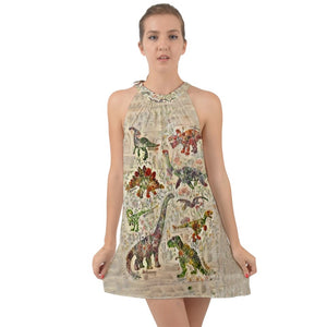Jurassic Bloom Tie Back Chiffon Dress Exclusive Dinostaur Design