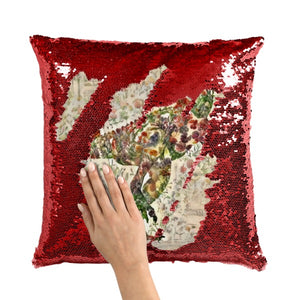 Jurassic Bloom Carnotaurus Sequin Throw Pillow