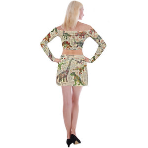 Dinostaur Exclusive Design Jurassic Bloom Off Shoulder Top with Mini Skirt Two Piece Set
