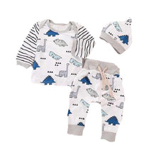 Striped Dinosaur Top + Pants + Hat 3 Piece Set