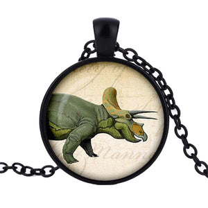 Triceratops Cabochon Dinosaur Pendant Necklace