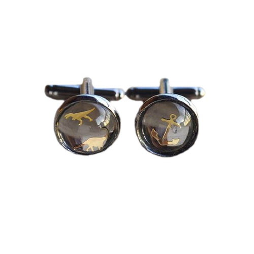 Handmade Pair Of Dinosaur And/Or Anchor Cabochon Black French Cufflinks
