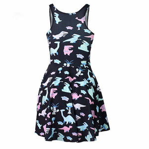 Cartoon Dino Skater Dress