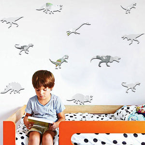 Self Adhesive Acrylic Silver Mirror Dinosaur Wall Decals